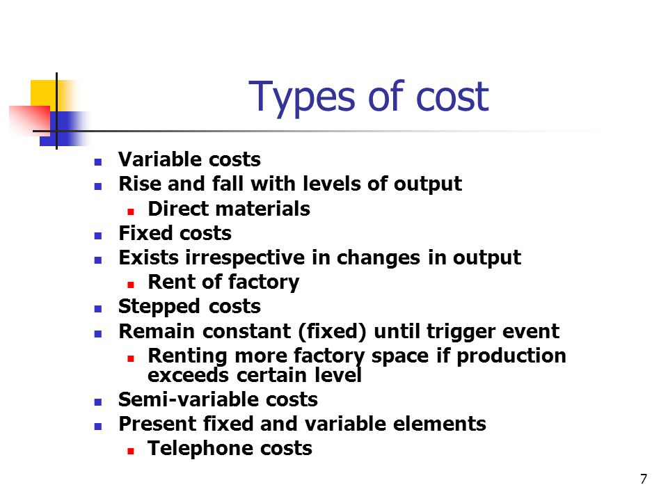 7 Types of cost Variable costs Rise and fall with levels of output Direct materials Fixed costs Exists irrespective in changes in output Rent of facto
