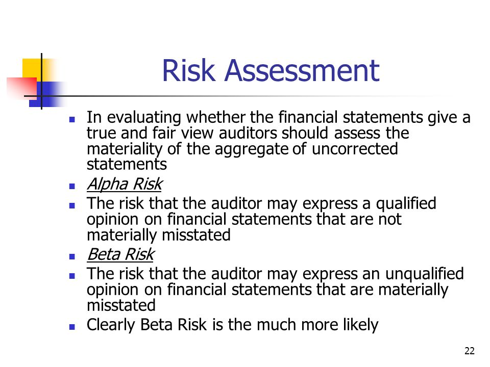 22 Risk Assessment In evaluating whether the financial statements give a true and fair view auditors should assess the materiality of the aggregate of