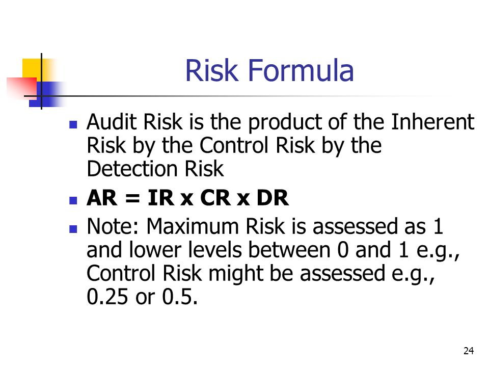 24 Risk Formula Audit Risk is the product of the Inherent Risk by the Control Risk by the Detection Risk AR = IR x CR x DR Note: Maximum Risk is asses