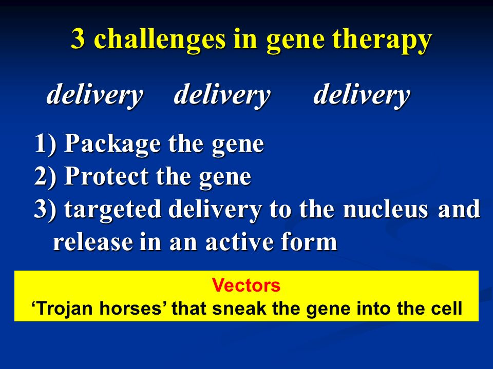delivery 3 challenges in gene therapy deliverydelivery 1) Package the gene 2) Protect the gene 3) targeted delivery to the nucleus and release in an a