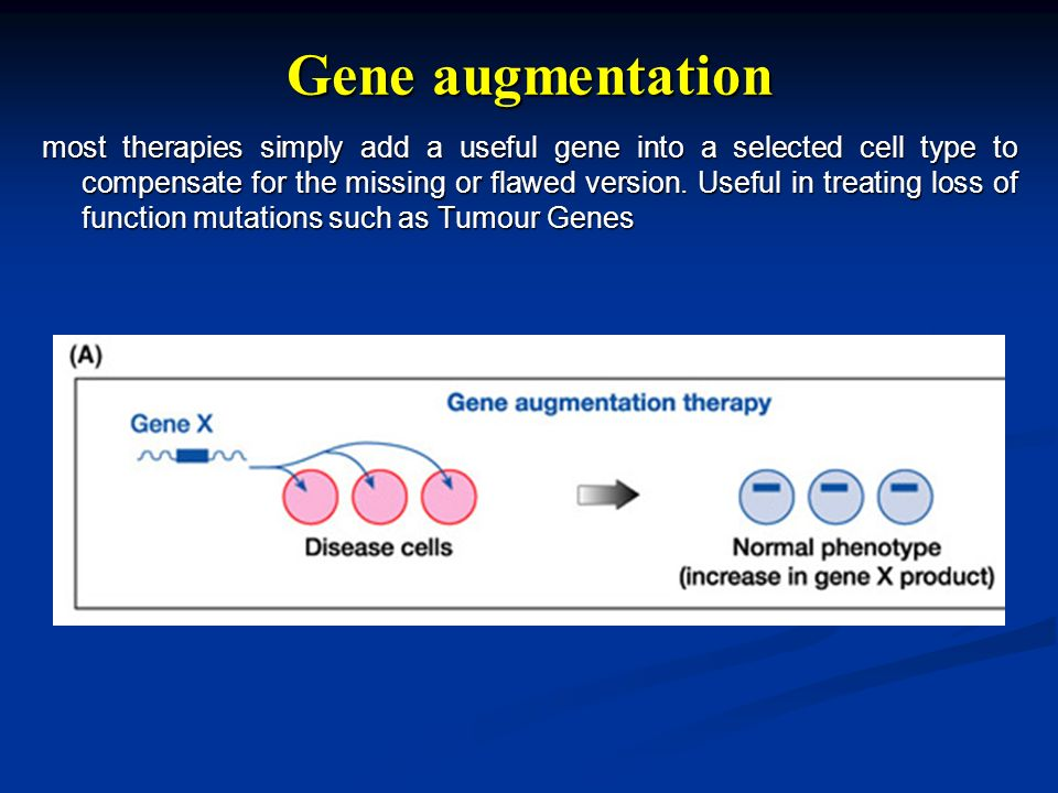 Gene augmentation most therapies simply add a useful gene into a selected cell type to compensate for the missing or flawed version.