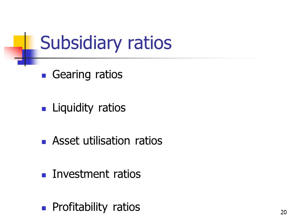 20 Subsidiary ratios Gearing ratios Liquidity ratios Asset utilisation ratios Investment ratios Profitability ratios