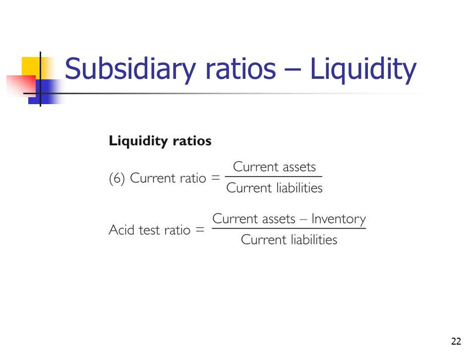 22 Subsidiary ratios – Liquidity