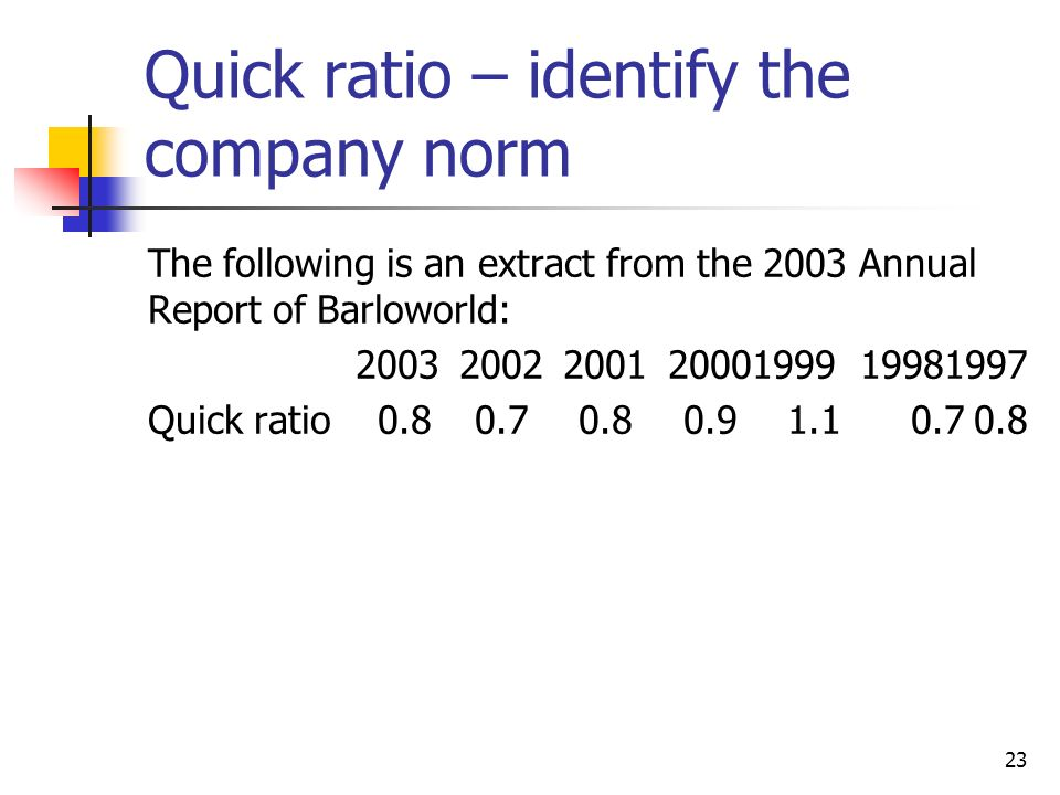 23 Quick ratio – identify the company norm The following is an extract from the 2003 Annual Report of Barloworld: 20032002200120001999 19981997 Quick