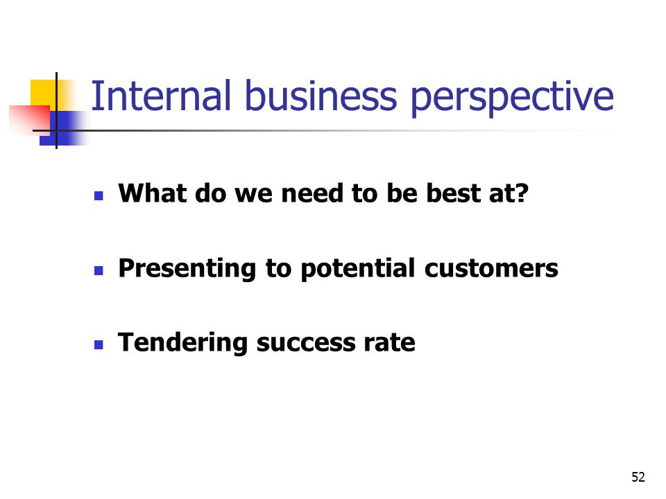 52 Internal business perspective What do we need to be best at? Presenting to potential customers Tendering success rate