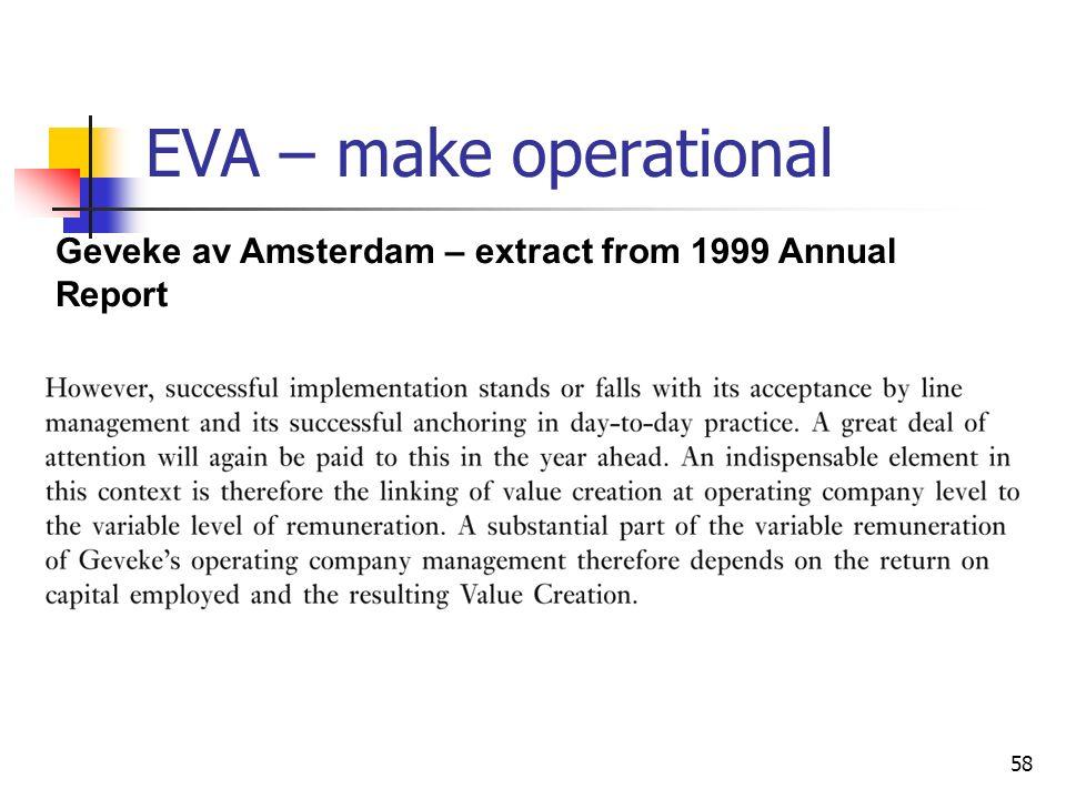 58 EVA – make operational Geveke av Amsterdam – extract from 1999 Annual Report