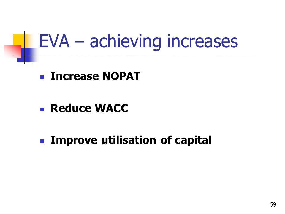 59 EVA – achieving increases Increase NOPAT Reduce WACC Improve utilisation of capital