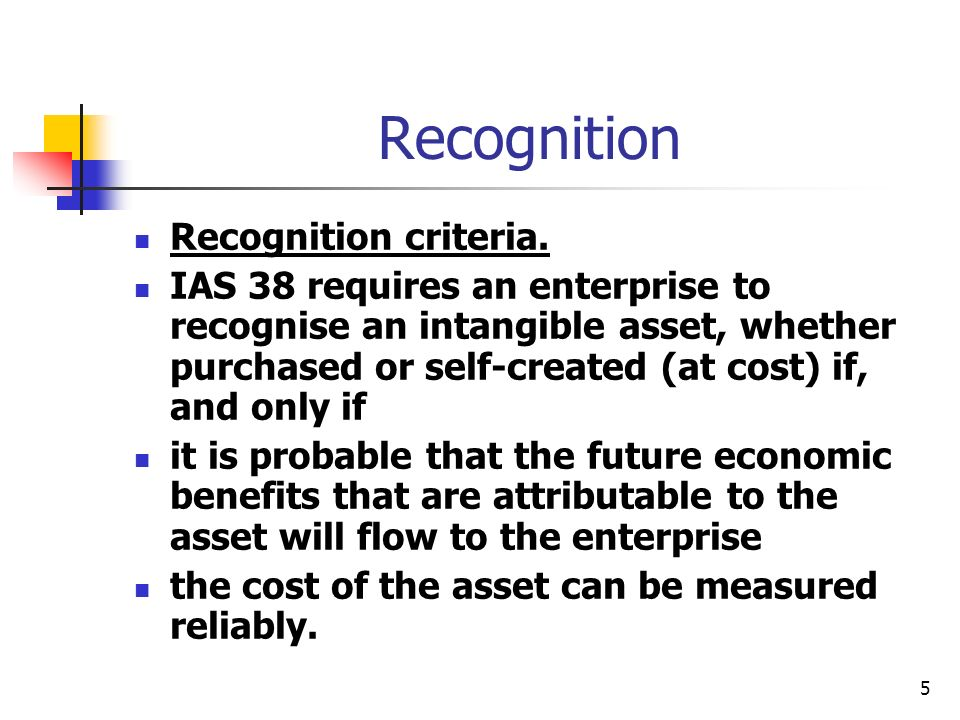 5 Recognition Recognition criteria. IAS 38 requires an enterprise to recognise an intangible asset, whether purchased or self-created (at cost) if, an