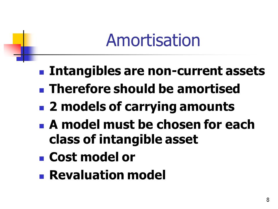 8 Amortisation Intangibles are non-current assets Therefore should be amortised 2 models of carrying amounts A model must be chosen for each class of