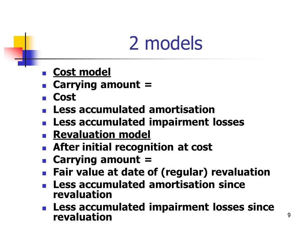 10 Fair Value Fair value can only be determined by reference to an active market Such active markets are expected to be uncommon for intangible assets Examples might be Milk quotas Freely traded taxi licences Where no active market exists – use cost model