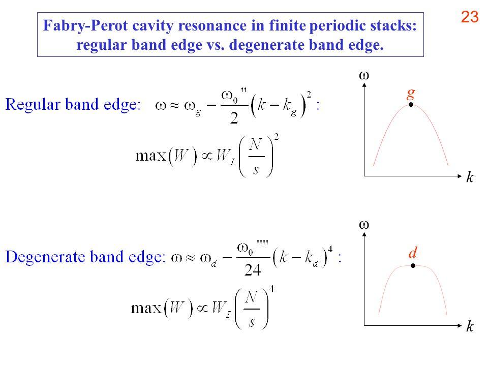 23 Fabry-Perot cavity resonance in finite periodic stacks: regular band edge vs. degenerate band edge. k ω g k ω d