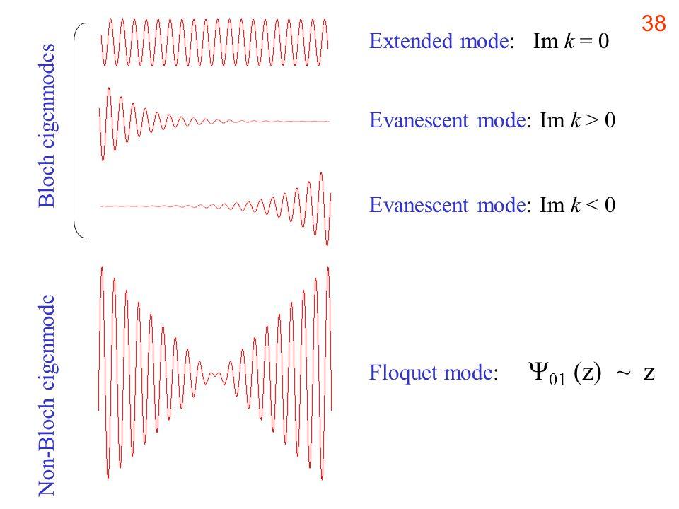 38 Evanescent mode: Im k > 0 Extended mode: Im k = 0 Evanescent mode: Im k < 0 Floquet mode: 01 (z) ~ z Bloch eigenmodes Non-Bloch eigenmode