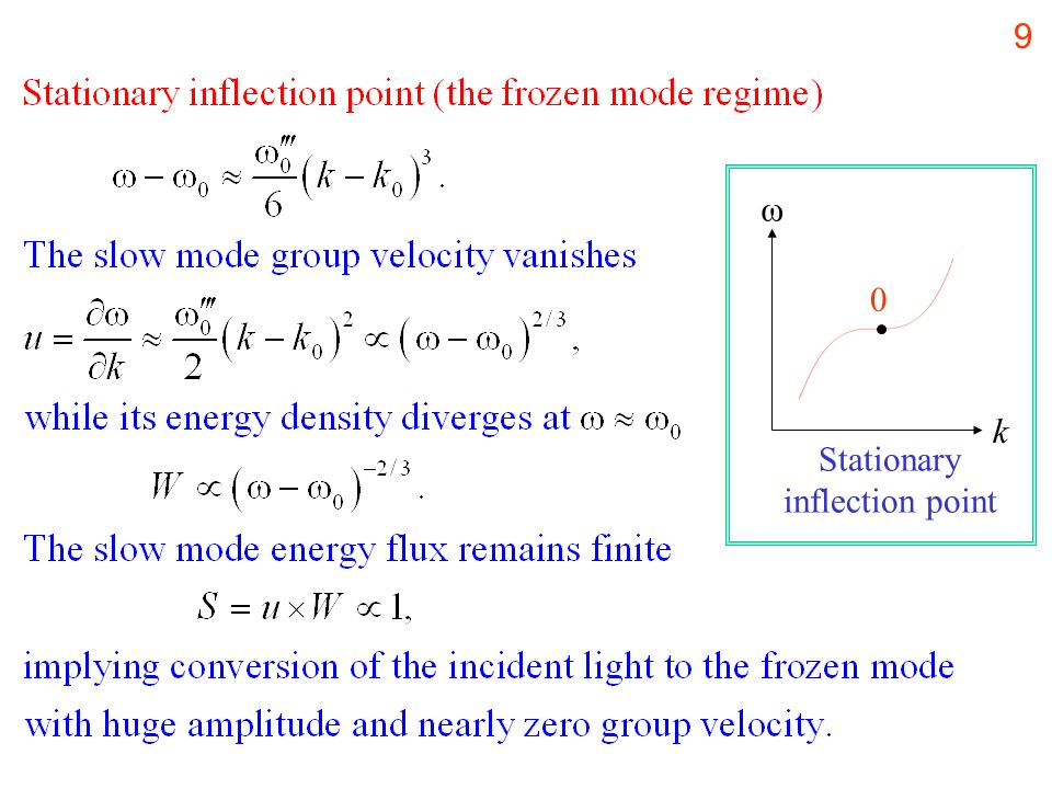 9 k ω 0 Stationary inflection point