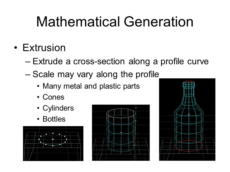 Mathematical Generation Extrusion –Extrude a cross-section along a profile curve –Scale may vary along the profile Many metal and plastic parts Cones
