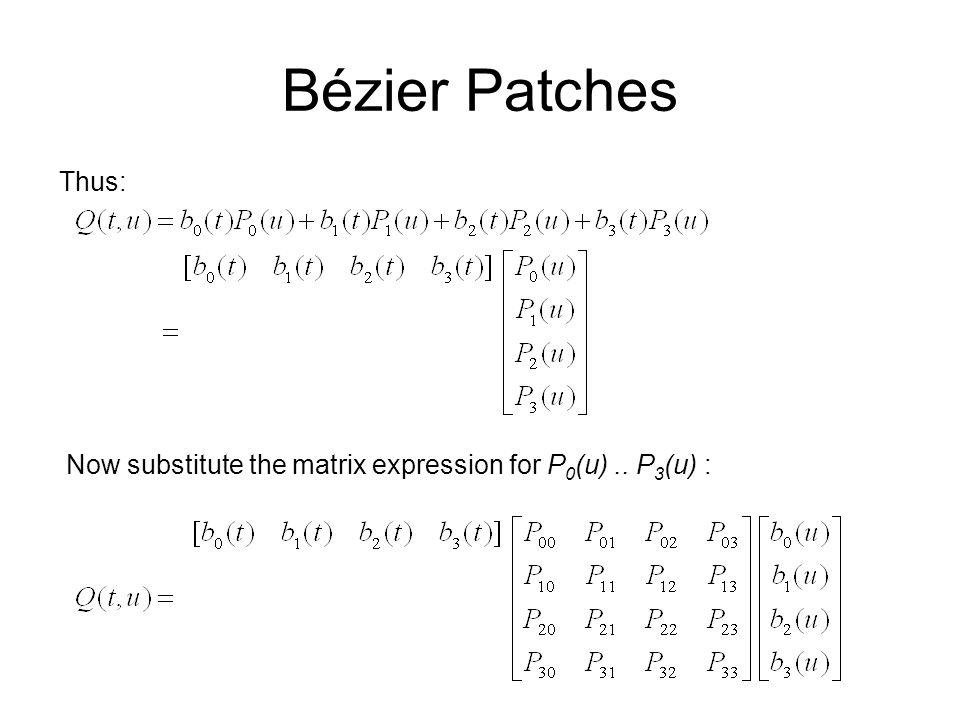 Bézier Patches Thus: Now substitute the matrix expression for P 0 (u).. P 3 (u) :