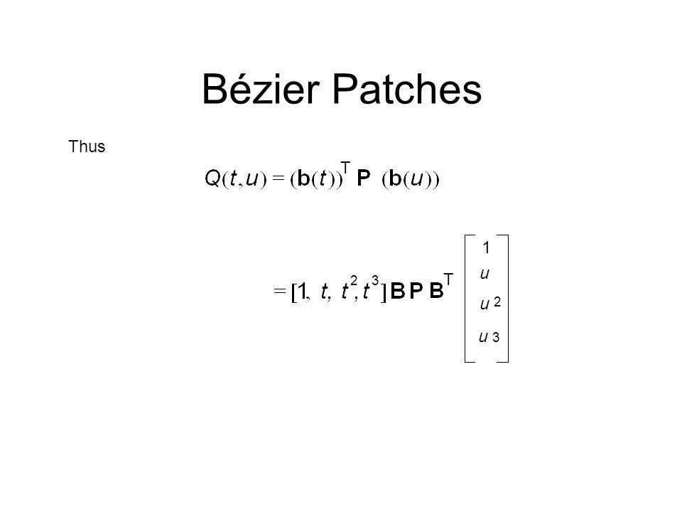 Thus T 23 u T 1 2 3 u u Bézier Patches