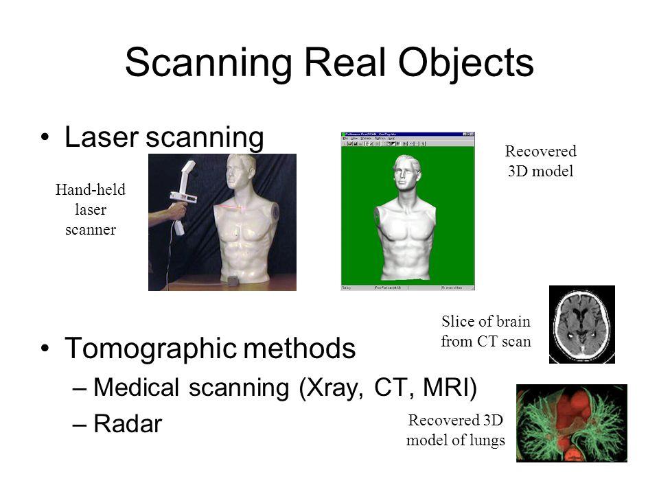 Scanning Real Objects Laser scanning Tomographic methods –Medical scanning (Xray, CT, MRI) –Radar Recovered 3D model Hand-held laser scanner Slice of brain from CT scan Recovered 3D model of lungs