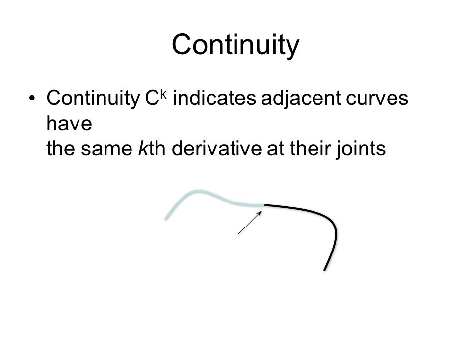 Continuity Continuity C k indicates adjacent curves have the same kth derivative at their joints