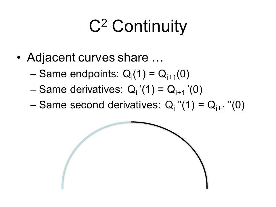 C 2 Continuity Adjacent curves share … –Same endpoints: Q i (1) = Q i+1 (0) –Same derivatives: Q i (1) = Q i+1 (0) –Same second derivatives: Q i (1) = Q i+1 (0)