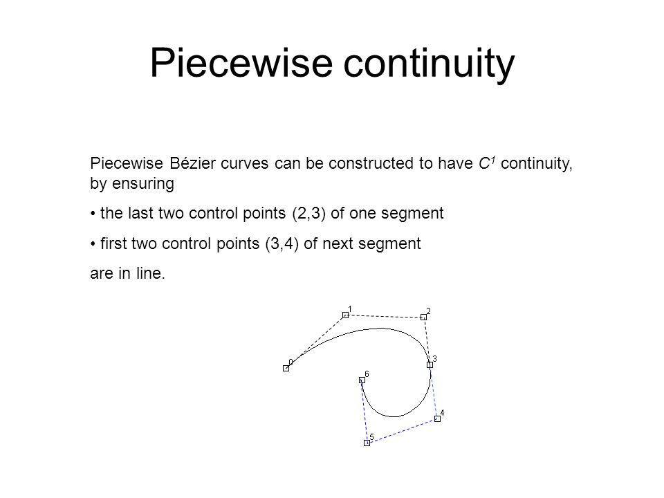 Piecewise continuity Piecewise Bézier curves can be constructed to have C 1 continuity, by ensuring the last two control points (2,3) of one segment f