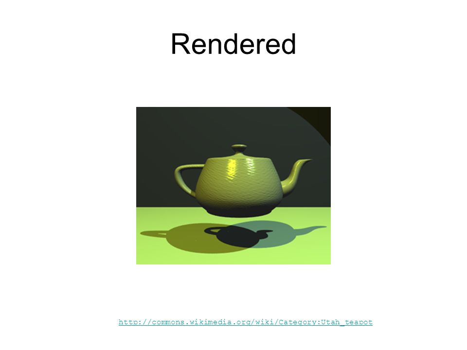 http://commons.wikimedia.org/wiki/Category:Utah_teapot Rendered