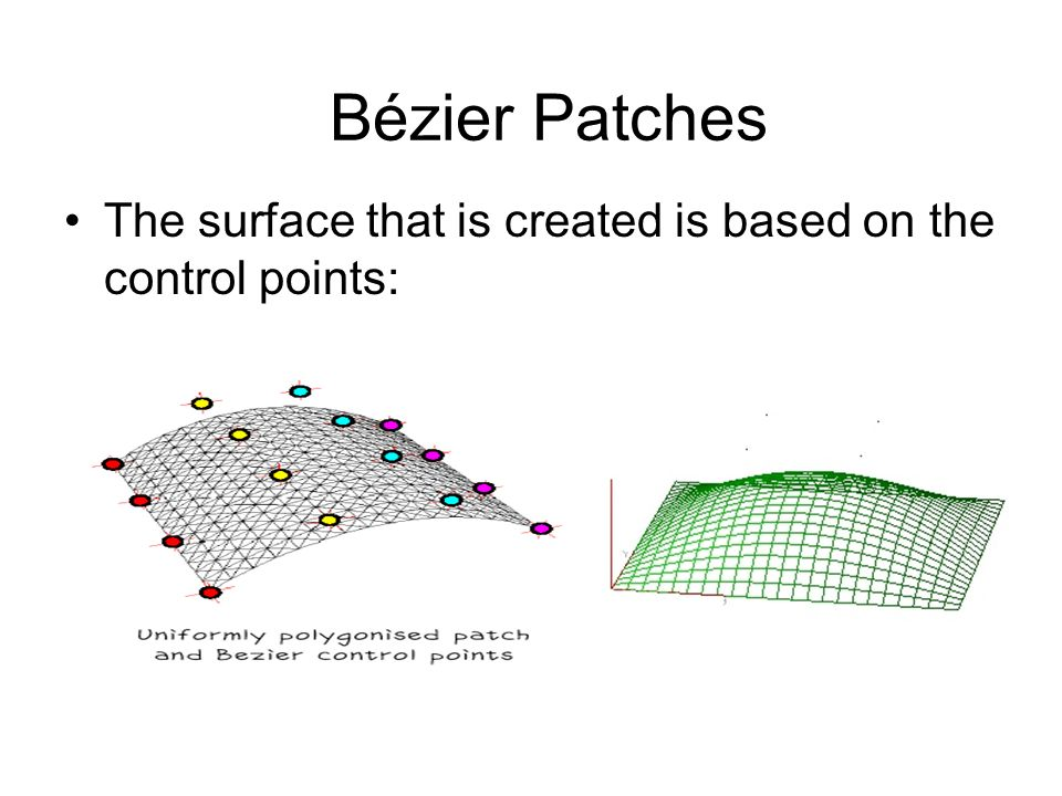 The surface that is created is based on the control points: Bézier Patches