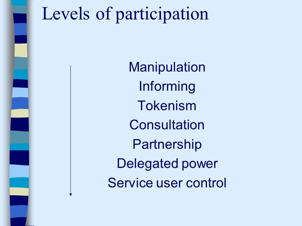 Levels of participation Manipulation Informing Tokenism Consultation Partnership Delegated power Service user control