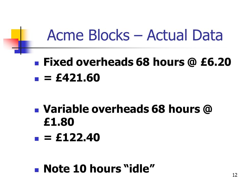 12 Acme Blocks – Actual Data Fixed overheads 68 hours @ £6.20 = £421.60 Variable overheads 68 hours @ £1.80 = £122.40 Note 10 hours idle