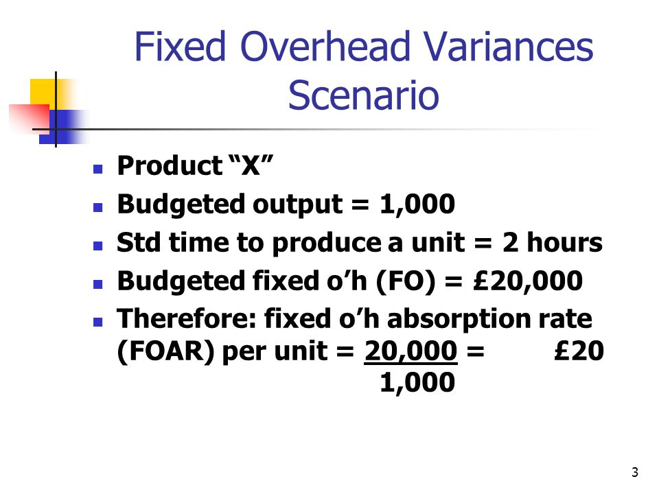 3 Fixed Overhead Variances Scenario Product X Budgeted output = 1,000 Std time to produce a unit = 2 hours Budgeted fixed oh (FO) = £20,000 Therefore: fixed oh absorption rate (FOAR) per unit = 20,000 = £20 1,000