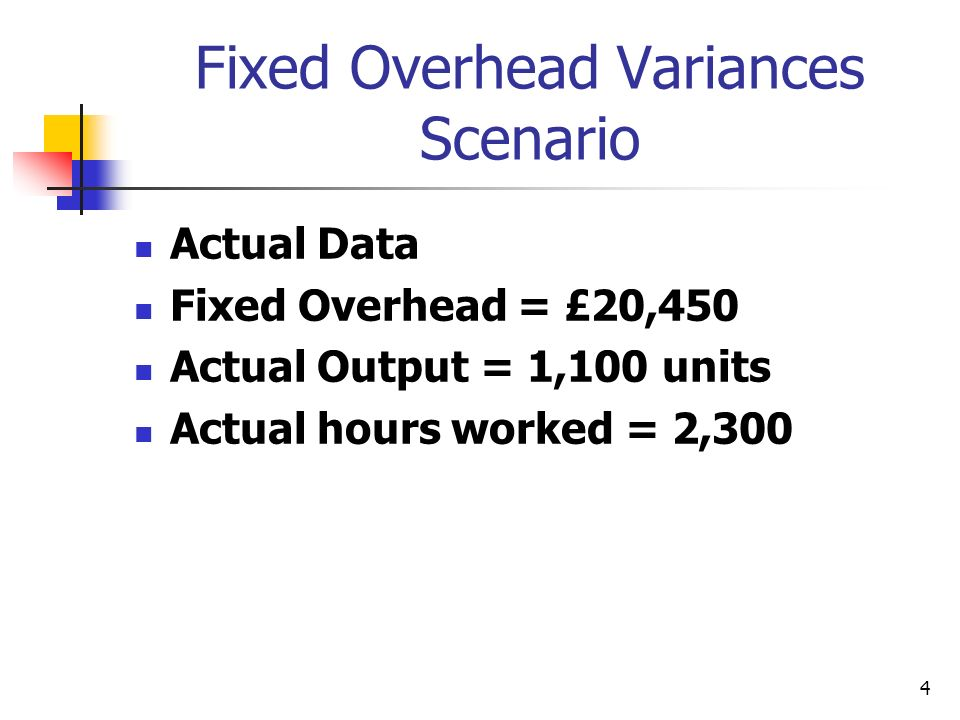 4 Fixed Overhead Variances Scenario Actual Data Fixed Overhead = £20,450 Actual Output = 1,100 units Actual hours worked = 2,300
