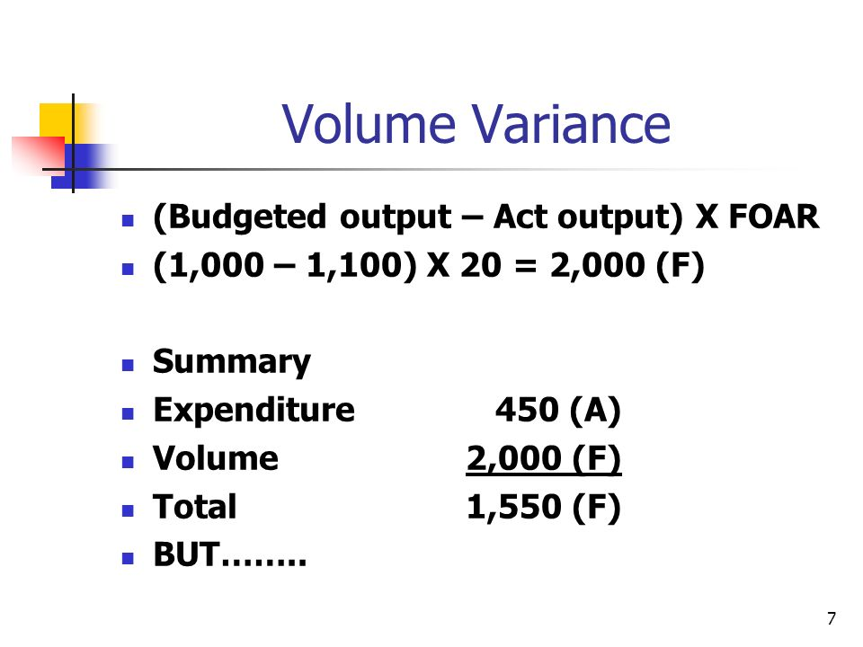 7 Volume Variance (Budgeted output – Act output) X FOAR (1,000 – 1,100) X 20 = 2,000 (F) Summary Expenditure 450 (A) Volume2,000 (F) Total1,550 (F) BUT……..