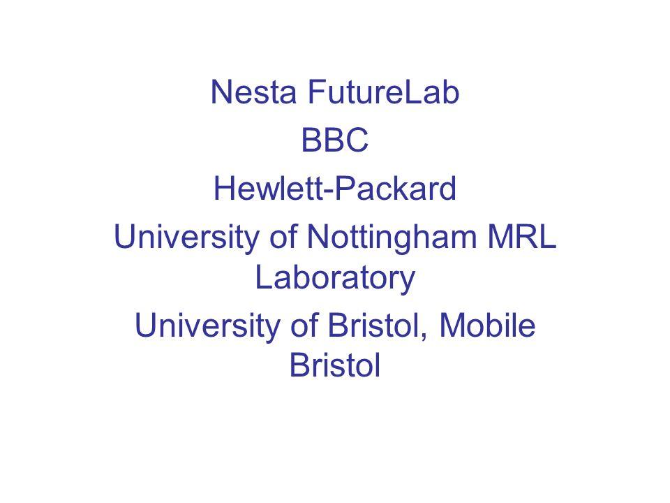 Nesta FutureLab BBC Hewlett-Packard University of Nottingham MRL Laboratory University of Bristol, Mobile Bristol