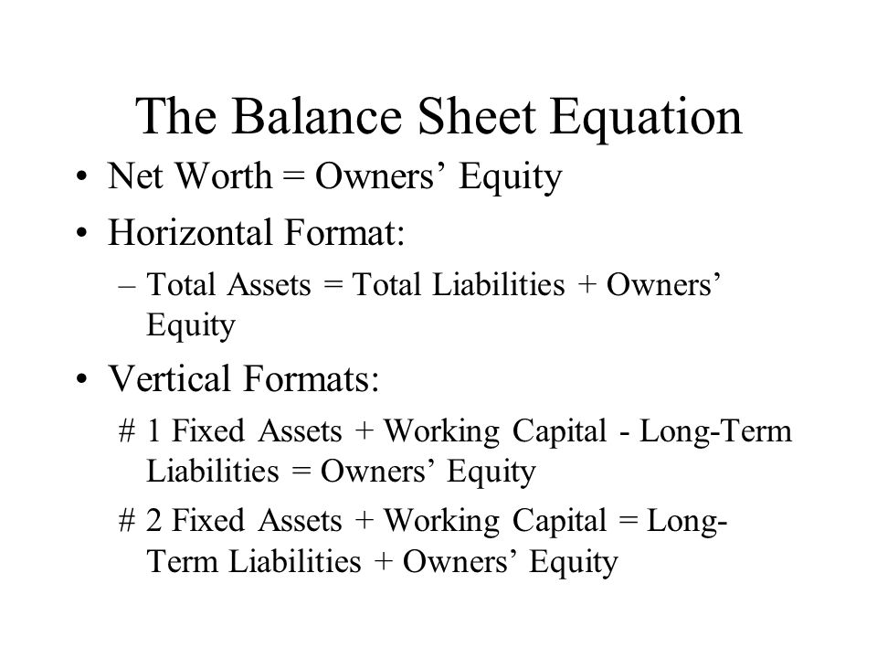 The Balance Sheet Equation Net Worth = Owners Equity Horizontal Format: –Total Assets = Total Liabilities + Owners Equity Vertical Formats: #1 Fixed A
