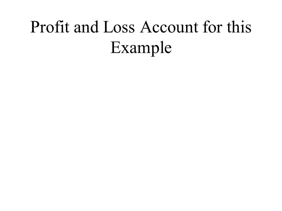 Profit and Loss Account for this Example