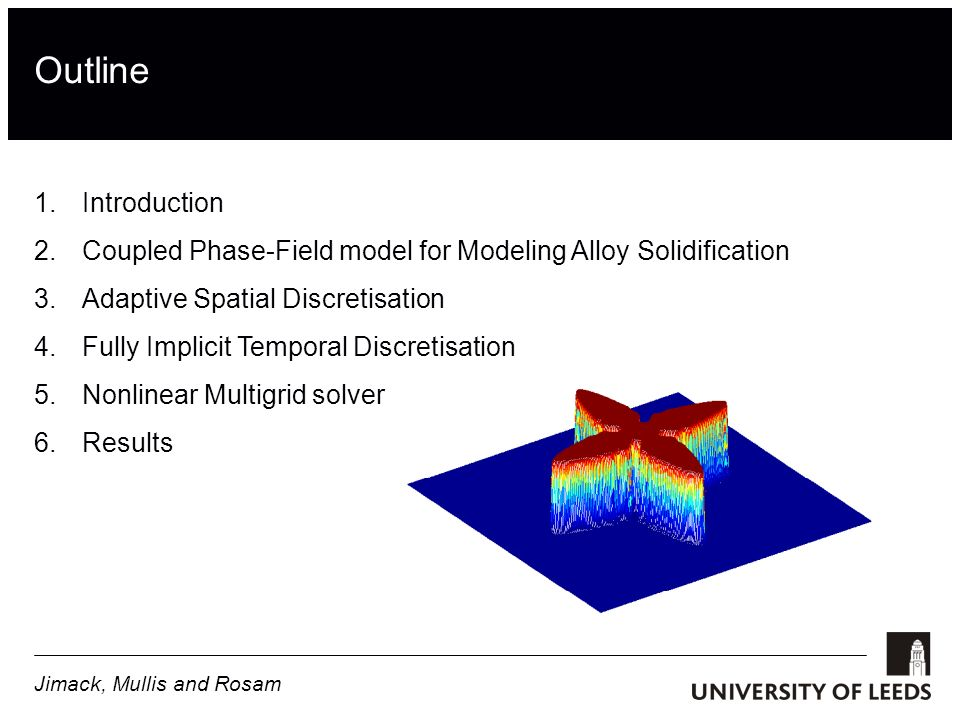 Outline 1.Introduction 2.Coupled Phase-Field model for Modeling Alloy Solidification 3.Adaptive Spatial Discretisation 4.Fully Implicit Temporal Discretisation 5.Nonlinear Multigrid solver 6.Results Jimack, Mullis and Rosam