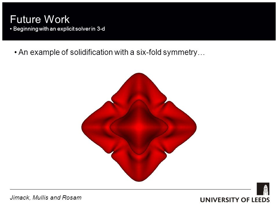 Future Work Beginning with an explicit solver in 3-d An example of solidification with a six-fold symmetry… Jimack, Mullis and Rosam