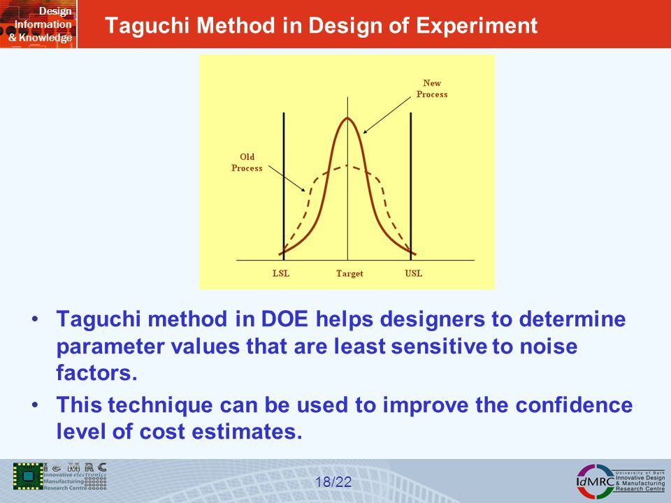 Design Information & Knowledge 18/22 Taguchi Method in Design of Experiment Taguchi method in DOE helps designers to determine parameter values that are least sensitive to noise factors.