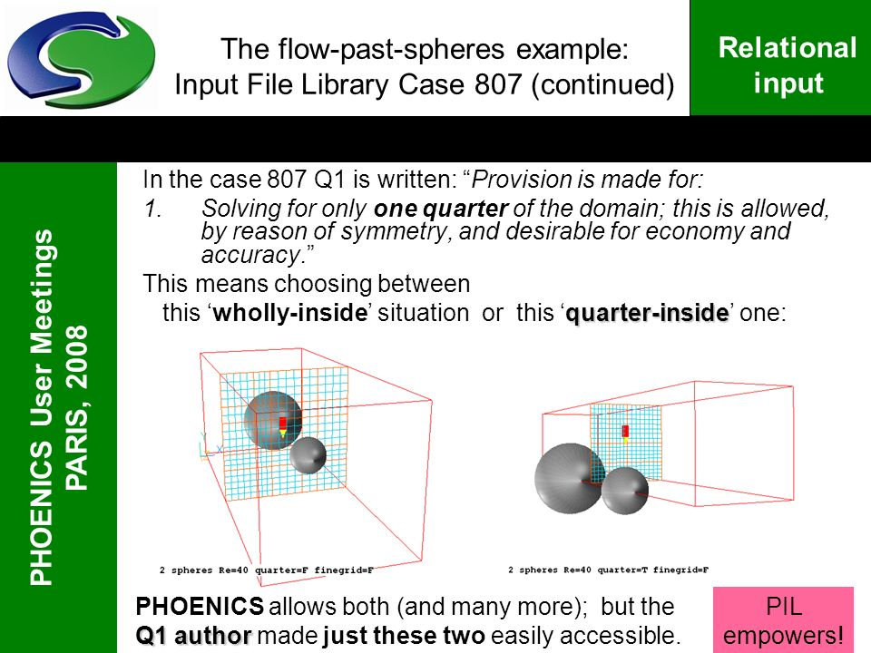 PHOENICS User Meetings PARIS, 2008 Relational input The flow-past-spheres example: Input File Library Case 807 (continued) In the case 807 Q1 is writt