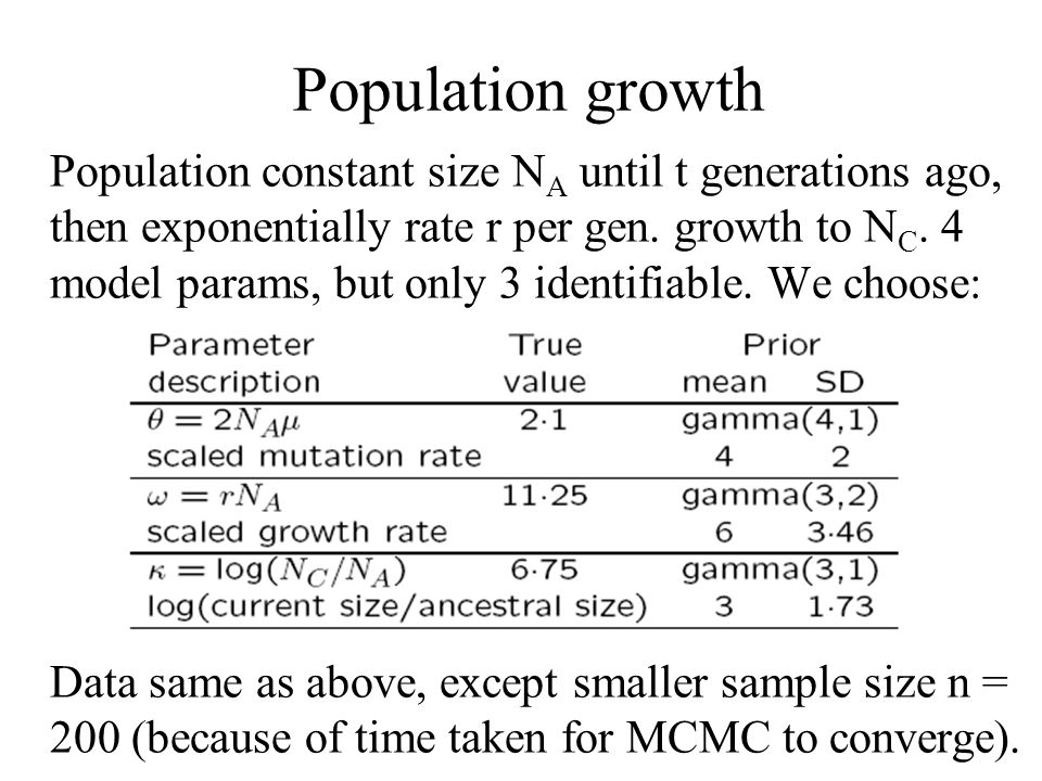 Population growth Population constant size N A until t generations ago, then exponentially rate r per gen. growth to N C. 4 model params, but only 3 i