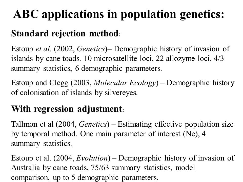 Standard rejection method : Estoup et al.