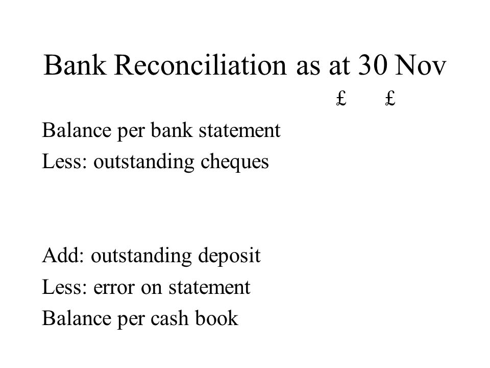 Bank Reconciliation as at 30 Nov £ Balance per bank statement Less: outstanding cheques Add: outstanding deposit Less: error on statement Balance per