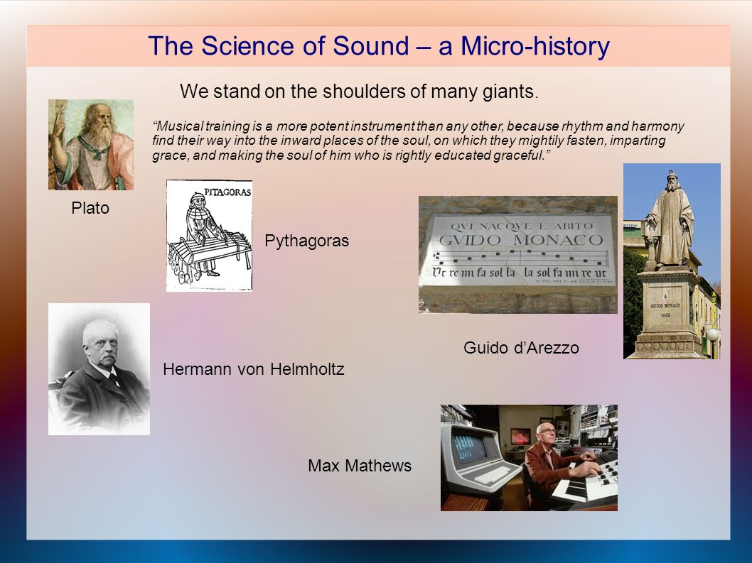 The Science of Sound – a Micro-history We stand on the shoulders of many giants.