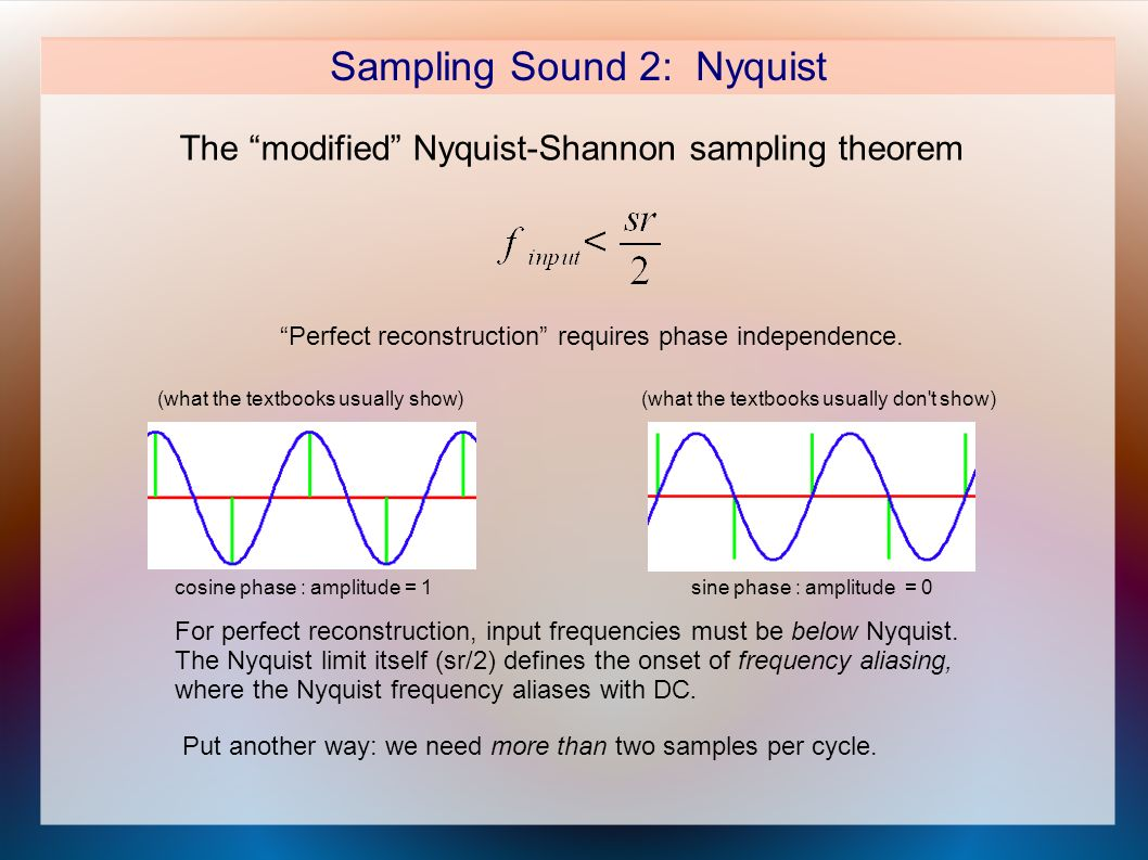 Sampling Sound 2: Nyquist The modified Nyquist-Shannon sampling theorem Perfect reconstruction requires phase independence.
