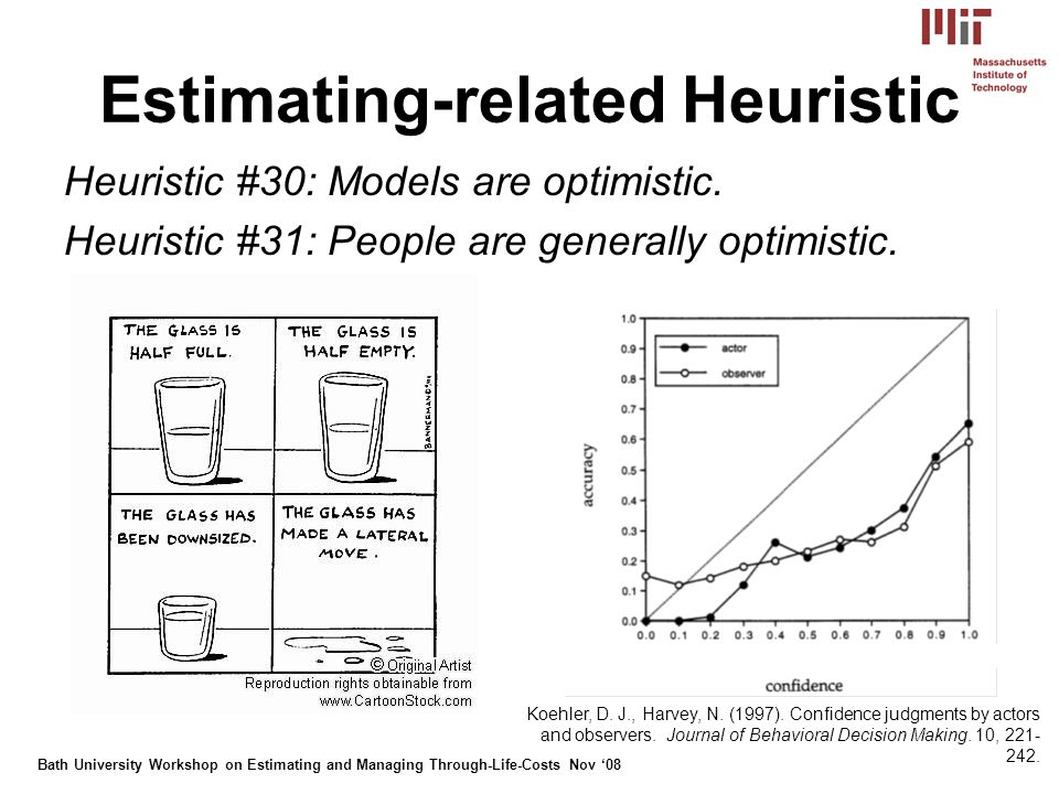 Bath University Workshop on Estimating and Managing Through-Life-Costs Nov 08 Estimating-related Heuristic Heuristic #30: Models are optimistic.