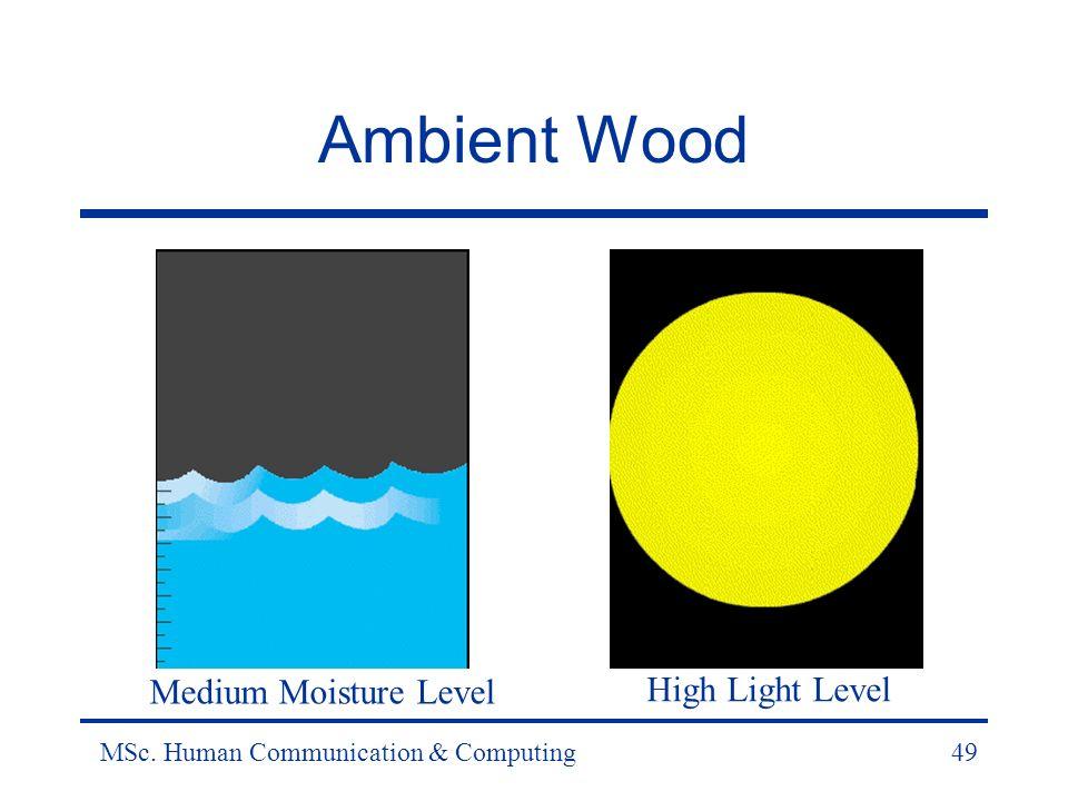 MSc. Human Communication & Computing49 Ambient Wood Medium Moisture Level High Light Level