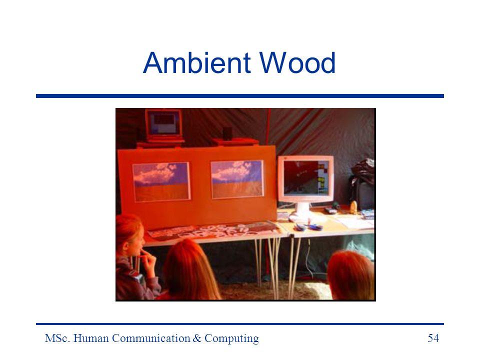 MSc. Human Communication & Computing54 Ambient Wood