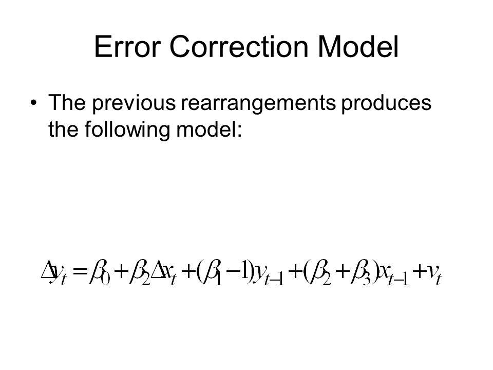 Error Correction Model The previous rearrangements produces the following model: