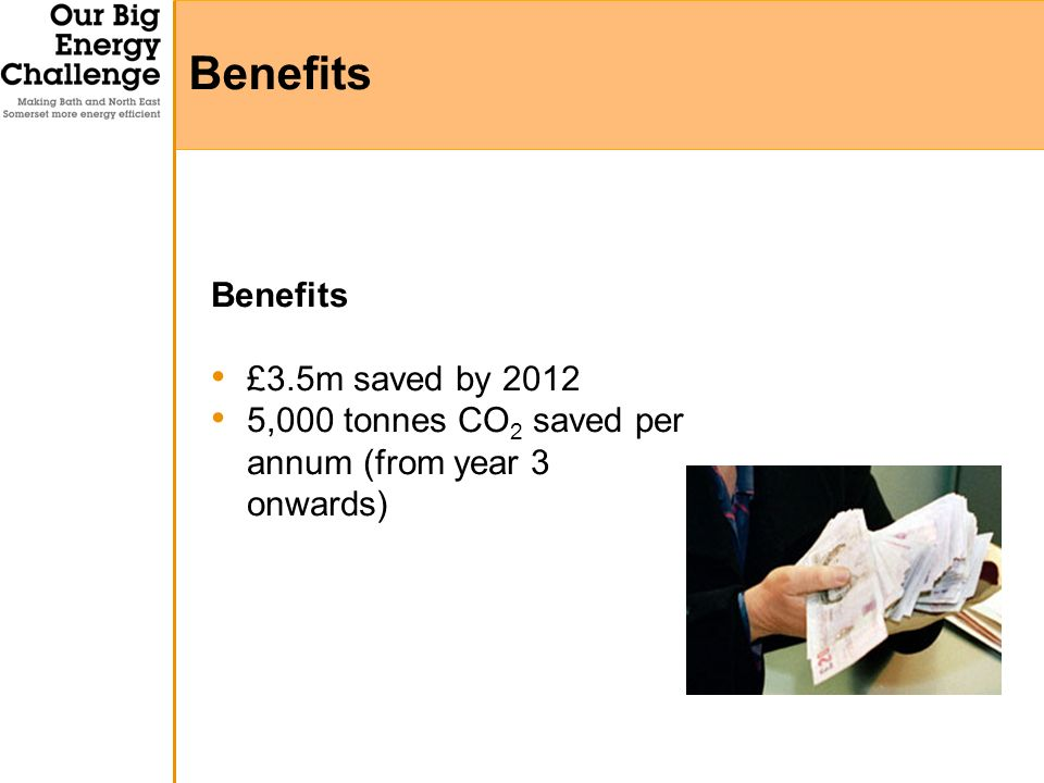 Benefits £3.5m saved by 2012 5,000 tonnes CO 2 saved per annum (from year 3 onwards) Benefits