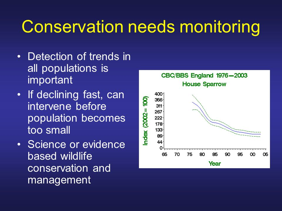 Total counts Very small populations Can ID individual animals Territory mapping of song birds Highly aggregated populations Colonial nesting birds Seals on a beach
