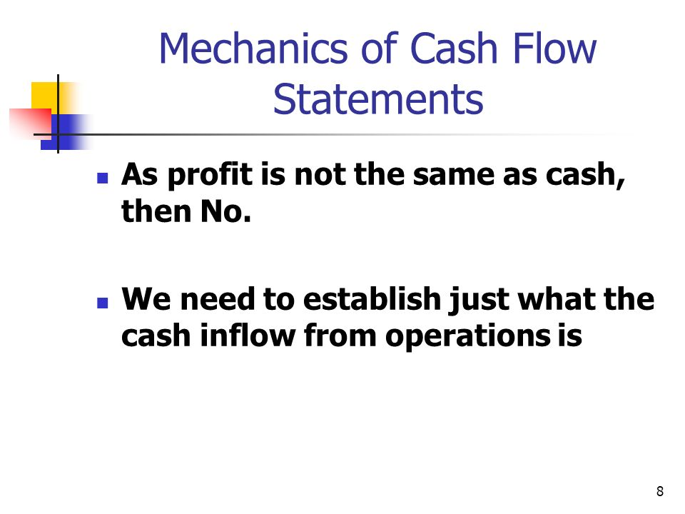 8 Mechanics of Cash Flow Statements As profit is not the same as cash, then No. We need to establish just what the cash inflow from operations is